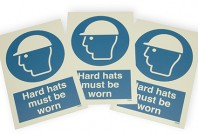 Construction site safety helmet signs